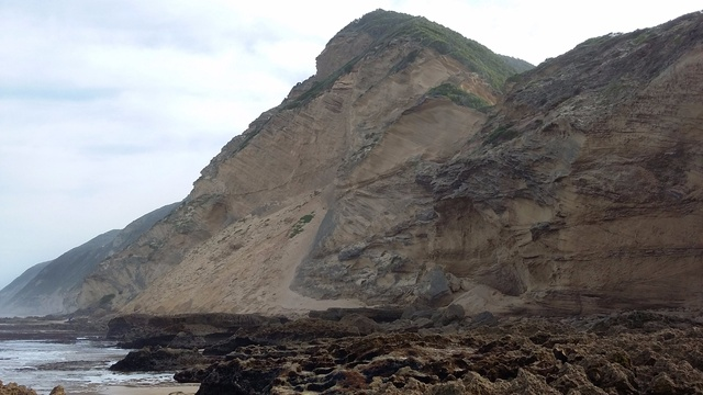 A fossilised dune at Swartvlei beach in Sedgefield