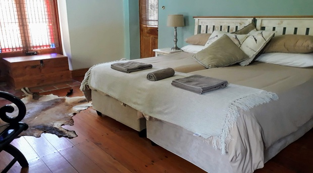 Fireplace Room with garden and swimming pool view, bed and breakfast accommodation with swimming pool, yellowwood floors, historic house, family suite, family friendly, child friendly