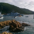 Knysna Oyster Festival 2014 - SA Navy vessel enters the lagoon through the Heads